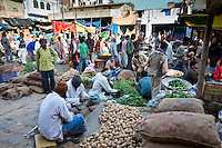 Old Delhi, Daryagang fruit and vegetable market with potatoes and green vegetables on sale, India
