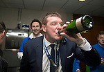 St Johnstone v Dundee United....17.05.14   William Hill Scottish Cup Final<br /> Manager Tommy Wright celebrates in thr dressing room<br /> Picture by Graeme Hart.<br /> Copyright Perthshire Picture Agency<br /> Tel: 01738 623350  Mobile: 07990 594431