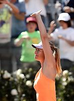 La tennista russa Maria Sharapova saluta dopo aver vinto un match nel corso degli Internazionali d'Italia di tennis a Roma, 15 maggio 2017.<br /> US tennis player Maria Sharapova greets after winning a match during the italian Masters tennis in Rome, May 15,2017.<br /> UPDATE IMAGES PRESS/Isabella Bonotto