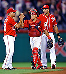28 August 2010: Washington Nationals catcher Ivan Rodriguez celebrates a win against the St. Louis Cardinals at Nationals Park in Washington, DC. The Nationals defeated the Cards 14-5 to take the third game of their 4-game series. Mandatory Credit: Ed Wolfstein Photo