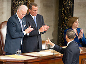 "United States President Barack Obama flashes a ""thums-up"" after delivering his State of the Union Address to a Joint Session of Congress in the U.S. Capitol in Washington, D.C., Tuesday, January 24, 2012.  U.S. Vice President Joseph Biden and U.S. House John Boehner (Republican of Ohio) applaud..Credit: Ron Sachs / CNP.(RESTRICTION: NO New York or New Jersey Newspapers or newspapers within a 75 mile radius of New York City)"