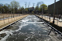 Aeration tanks, showing proximity to residential development,  at the Yonkers Sewage Treatment Plant in the city of Yonkers, NY in Westchester County on Saturday, April 25, 2009. (© Richard B. Levine)