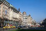 Wenceslas Square, (Czech: Vaclavske Namesti) one of Prague's main and historic squares, in New Town, Prague, Czech Republic, Europe