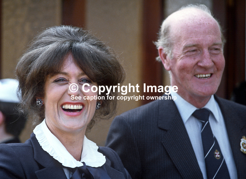 Lady Georgina Mary O'Neill, wife of Lord O'Neill, 4th Baron, Shane's Castle, Antrim, N Ireland, UK. With Lady O'Neill is Robin Wylie, council member, Royal Ulster Agricultural Society. 19840070GMON4<br />