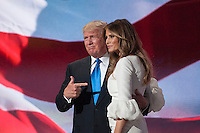 July 18, 2016 - Cleveland, Ohio: Donald Trump and his wife Melania Trump after Melania Trump delivered her speech at the Republican National Convention.