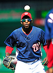 23 April 2010: Washington Nationals' center fielder Nyjer Morgan warms up prior to a game against the Los Angeles Dodgers at Nationals Park in Washington, DC. The Nationals defeated the Dodgers 5-1 in the first game of their 3-game series. Mandatory Credit: Ed Wolfstein Photo