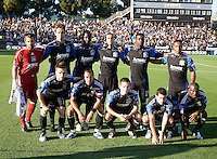 San Jose Earthquakes Starting XI pose together for group photos before the game against the Sounders at Buck Shaw Stadium in Santa Clara, California on July 31st, 2010.   Seattle Sounders defeated San Jose Earthquakes, 1-0.