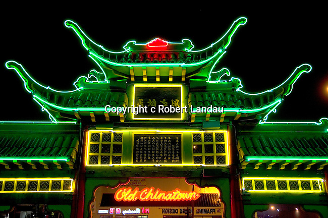 Neon lit gate of Chinatown in downtown Los Angeles