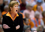 KNOXVILLE, TN--07 JANUARY 2005- 010706JS10-<br /> Tennessee head coach Pat Summitt yells out to her players during their 89-80 win over UConn Saturday at the Thompson-Boling Arena in Knoxville, Tennessee. <br />  --Jim Shannon Republican American--UConn; Tennessee; Thompson-Boling Arena; Knoxville; Tennessee, Pat Summitt  are CQ