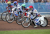 Heat 2 - Bird (red), Simota, Lanham (green), Hurry - Reading Bulldogs vs Lakeside Hammers - Elite League Speedway at Smallmead, Reading- 23-04-07 - MANDATORY CREDIT: Gavin Ellis/TGSPHOTO - IMAGES USED WILL BE INVOICED AT STANDARD RATES..