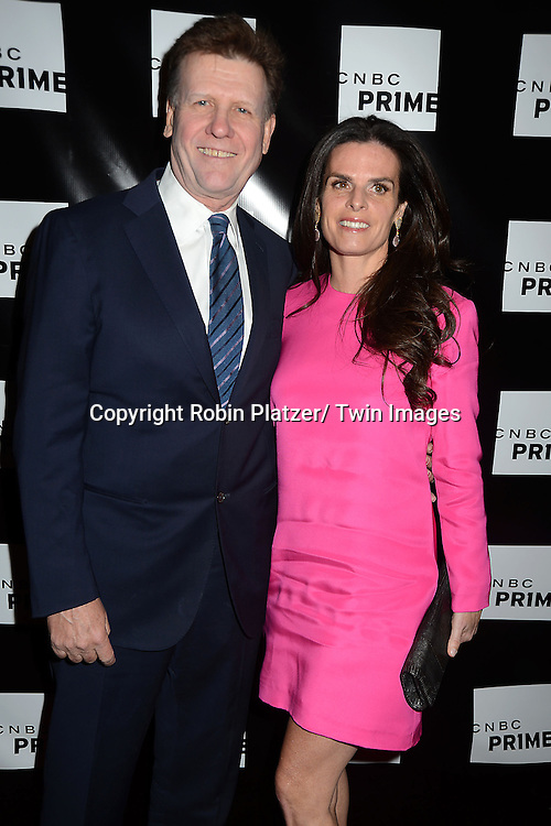 "Joe Kernen and wife Penelope attend the CNBC Launch Event for their new primetime shows on February 28, 2013 at Classic Car Club Manhattan in New York City. The two new shows are .""Treasure Detectives"" and ""The Car Chasers"" which will be shown on Tuesday nights."