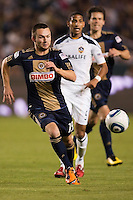 Philadelphia Union forward Jack McInnerney (29) chases a loose ball. The LA Galaxy defeated the Philadelphia Union 1-0 at Home Depot Center stadium in Carson, California on  April  2, 2011....