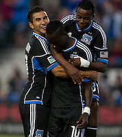 Santa Clara, California - Saturday August 25th, 2012: San Jose's Steven Beitashor and Marvin Chavez celebrating with Simon Dawkins after his goal during a game against Colorado Rapids at Buck Shaw Stadium, Stanford, Ca    San Jose Earthquakes defeated Colorado Rapids 4 - 1