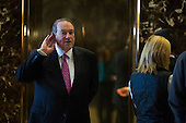 Former Governor Mike Huckabee (Republican of Arkansas) arrives inside of the lobby of Trump Tower in Manhattan, New York, U.S., on Friday, November 18, 2016. <br /> Credit: John Taggart / Pool via CNP