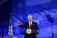 National Harbor, MD - February 23, 2017: Vice President Mike Pence addresses attendees of the Conservative Political Action Conference at the Gaylord National Hotel in National Harbor, MD, February 23, 2017,   (Photo by Don Baxter/Media Images International)
