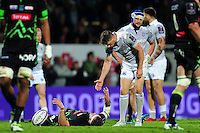 Rhys Priestland of Bath Rugby offers a hand during a break in play. European Rugby Challenge Cup match, between Pau (Section Paloise) and Bath Rugby on October 15, 2016 at the Stade du Hameau in Pau, France. Photo by: Patrick Khachfe / Onside Images