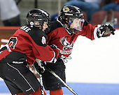 A pair of mites celebrate a goal.  Both period breaks featured &quot;mites on ice&quot;. - The visiting Merrimack College Warriors tied the Boston University Terriers 1-1 on Friday, November 12, 2010, at Agganis Arena in Boston, Massachusetts.