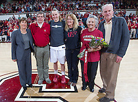 Stanford senior Mikaela Ruef, celebrates after the Stanford women's basketball  vs Washington State at Maples Pavilion, Stanford, California on March 1, 2014.