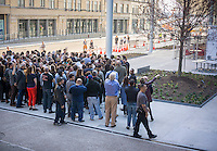 Employees of the Whitney Museum of American Art in New York arrive for a group photograph on Friday, April 17, 2015. The trendy neighborhood is about to get even more trendy when the museum opens on May 1. The Whitney is hosting a block party on May 2 to welcome the public. (© Richard B. Levine)