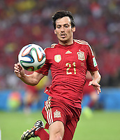 FUSSBALL WM 2014  VORRUNDE    Gruppe B     Spanien - Chile                           18.06.2014 David Silva (Spanien) am Ball
