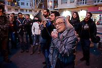 Roma 24 Marzo 2012.Conferenza stampa ai Magazzini popolari e corteo antifascista a Casalbertone dopo l'aggressione  di ieri da parte di militanti di Casa Pound..L'intervento della partigiana Bianca Bracci Torsi dell'ANPI
