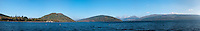 Panorama of Loch Fyne from Inveraray, Scotland.  Loch Fyne is a sea loch on the west coast of Argyll and Bute, Scotland. It extends 65 kilometres (40 mi) inland from the Sound of Bute, making it the longest of the sea lochs..Inveraray (Inbihir Aora in Gaelic), is a picturesque little town on the western shore of Loch Fyne and is made popular by the Inveraray Castle and the Historic Jail. The region surrounding Loch Fyne is notorious for it's seafood, directly from the Loch.