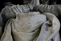 Fleur-de-lis, detail of the coronation vestments of Henry II, statue-gisant, marble, by Germain Pilon, commissionned by Catherine de' Medici in 1583, Abbey church of Saint Denis, Seine Saint Denis, France. Picture by Manuel Cohen