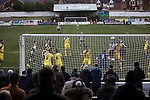 Chorley 2 Altrincham 0, 21/01/2017. Victory Park, National League North. Debutant Jack Sampson heads home the opening goal in the 12th minute at Victory Park, as Chorley played Altrincham (in yellow) in a Vanarama National League North fixture. Chorley were founded in 1883 and moved into their present ground in 1920. The match was won by the home team by 2-0, watched by an above-average attendance of 1127. Photo by Colin McPherson.