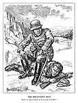"""The Reluctant Ally. """"Don't you dare to desert me in my hour of trouble!"""" (a German soldier sits ontop of Finland with his pistol at the ready)"""
