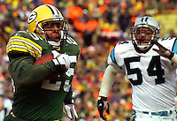 """Green Bay Packers running back Dorsey Levens had 205 all-purpose yards and one touchdown as the Packers beat the Panthers 30-13 in the NFC Championship Game at Lambeau Field on January 12, 1997. This was the first title game in Green Bay since the """"Ice Bowl"""" in 1967."""