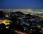 Downtown San Francisco illuminated at night from Tank Hill overview, San Francisco, California USA