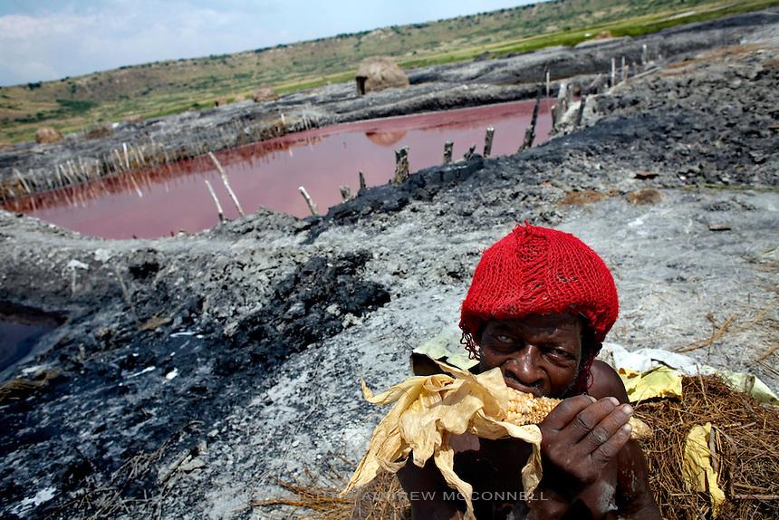 A man takes a lunch break at Lake Katwe, Uganda.