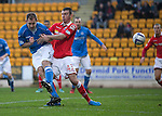 St Johnstone v Ross County....22.11.14   SPFL<br /> Frazer Wright flicks on the corner kick only to see his effort cleared off the line<br /> Picture by Graeme Hart.<br /> Copyright Perthshire Picture Agency<br /> Tel: 01738 623350  Mobile: 07990 594431