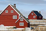 Red houses in Nuuk, Greenland