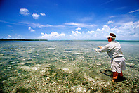 fly fishing for bonefish, .flats at Elliott Key, .Biscayne National Park, Florida (Atlantic)