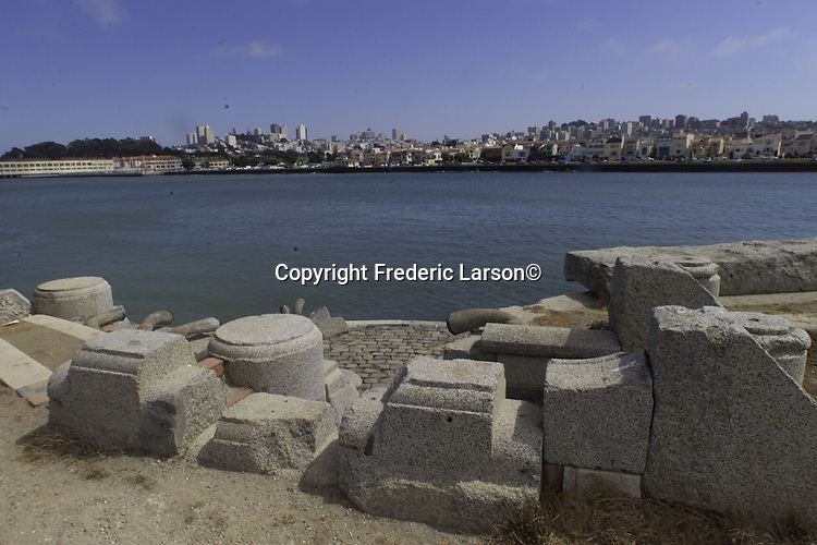 The north jetty at Marina Yacht Harbor in San Francisco harbor, California.