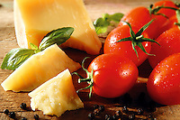 Cheddar cheese and fresh tomatoes food photos.