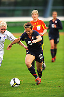 USA forwards, Casey Nogueira attacks vs. Iceland.  The USWNT defeated Iceland (2-0) at Vila Real Sto. Antonio in their opener of the 2010 Algarve Cup on February 24, 2010.