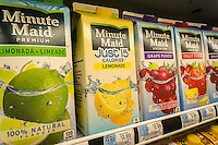 Minute Maid brand lemonade and other products in a cooler in a supermarket in New York on Friday, April 29, 2016. Minute Maid is a brand of Coca-Cola. (© Richard B. Levine)