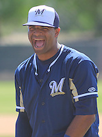 MARYVALE - March 2015: Sthervin Matos of the Milwaukee Brewers during a spring training workout on March 26th, 2015 at Maryvale Baseball Park in Mesa, Arizona. (Photo Credit: Brad Krause)