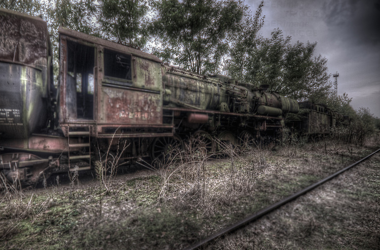 Old steam train grave yard, in East Germany