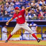 2 April 2016: Boston Red Sox pitcher Kyle Martin on the mound during a pre-season exhibition game against the Toronto Blue Jays at Olympic Stadium in Montreal, Quebec, Canada. The Red Sox defeated the Blue Jays 7-4 in the second of two MLB weekend games, which saw a two-game series attendance of 106,102 at the former home on the Montreal Expos. Mandatory Credit: Ed Wolfstein Photo *** RAW (NEF) Image File Available ***