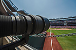 25 July 2013: My 800mm Ais-Nikkor (non-autofocus) is ready to take images at a game between the  Pittsburgh Pirates and the Washington Nationals at Nationals Park in Washington, DC. The Nationals salvaged the last game of their series, winning 9-7 ending their 6-game losing streak. Mandatory Credit: Ed Wolfstein Photo *** RAW (NEF) Image File Available ***