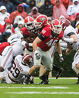 ATHENS, GEORGIA - October 3, 2015: The 8th ranked University of Georgia Bulldogs play the number 13 ranked Alabama Crimson Tide at Sanford Stadium.  Final Score Alabama 38, Georgia 10.