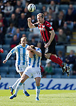 Dundee v St Johnstone...25.04.15   SPFL<br /> Frazer Wright gets above Greg Stewart<br /> Picture by Graeme Hart.<br /> Copyright Perthshire Picture Agency<br /> Tel: 01738 623350  Mobile: 07990 594431