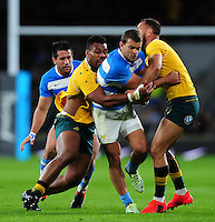 Ramiro Moyano of Argentina is double-tackled. The Rugby Championship match between Argentina and Australia on October 8, 2016 at Twickenham Stadium in London, England. Photo by: Patrick Khachfe / Onside Images