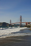 San Francisco: Baker Beach with Golden Gate Bridge in background.  Photo # 2-casanf83464.  Photo copyright Lee Foster