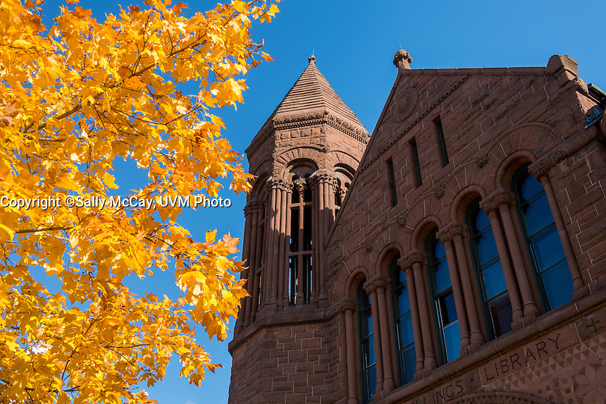 Billings Library building details, Fall UVM Campus