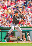 22 September 2013: Miami Marlins outfielder Christian Yelich in action against the Washington Nationals at Nationals Park in Washington, DC. The Marlins defeated the Nationals 4-2 in the first game of their day/night double-header. Mandatory Credit: Ed Wolfstein Photo *** RAW (NEF) Image File Available ***