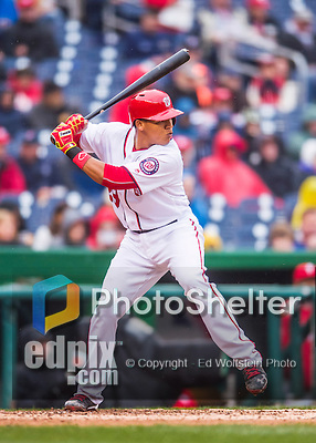 28 April 2016: Washington Nationals catcher Pedro Severino in action against the Philadelphia Phillies at Nationals Park in Washington, DC. The Phillies shut out the Nationals 3-0 to sweep their mid-week, 3-game series. Mandatory Credit: Ed Wolfstein Photo *** RAW (NEF) Image File Available ***